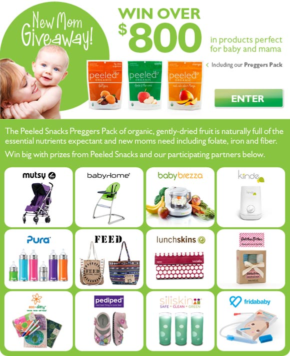 Peeled Snacks New Mom Giveaway! Over $800 in prizes