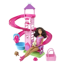 It's a full day of puppy play with Nikki® doll and her two adorable pups! With this colorful park set; the puppies can go down the slide; twirl in the girl-activated swings; or ride in Nikki doll's pet carrier!