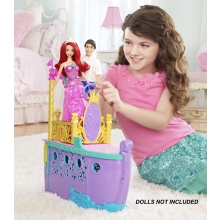 Girls can play out princess adventures from the movie  The Little Mermaid ! This two-level boat features a regal design and opens to reveal an under-the-sea world; complete with enchanting bedroom and accessories from Ariel's fairy tale!