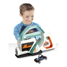 This high-speed launcher comes with one Ballistiks vehicle; but kids can load several (sold separately) into the blaster's magazine to rev up the racing; transforming action! Use the LED for aiming accuracy and pull the trigger to fire — each ball explodes into a Hot Wheels car on impact!