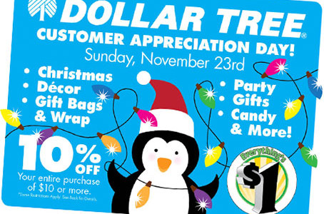 Dollar Tree – 10 % off Entire Purchase With Coupon on November 23rd