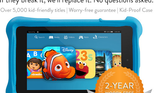 Fire HD Kids Edition 8GB Tablet With 1 Year of Amazon FreeTime Unlimited, 2-Year Worry-Free Guarantee, Kid-Proof Protective Case $159