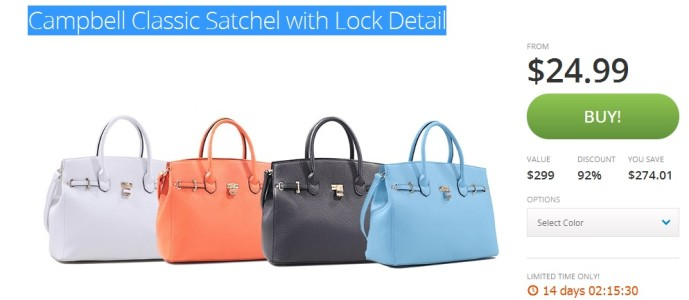 Campbell Classic Satchel with Lock Detail $24.99 (Retails for $274.99)