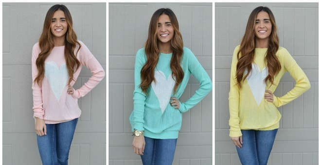 pastel heart sweater