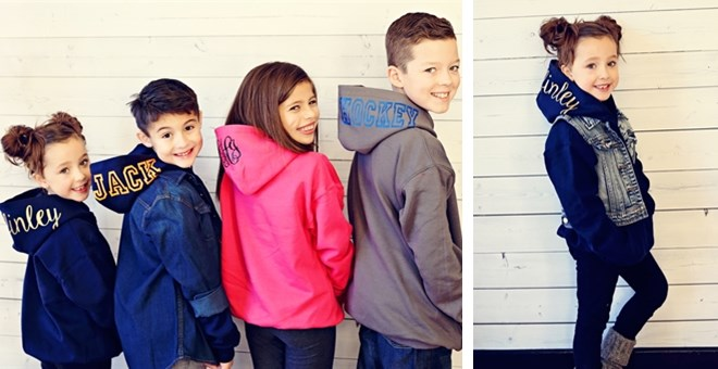 personalized hooded kids sweatshirt