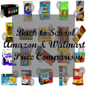 Back to School Snacks Cost Comparisons for Walmart & Amazon